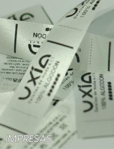 Etiquetas de fasco y raso impresas. Ideales para talle y composición.